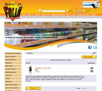 Exemplo de página de carrinho para finalização da compra ou solicitação de orçamento.