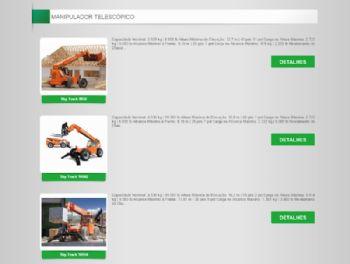 Exemplo de parte da página de listagem de equipamentos.