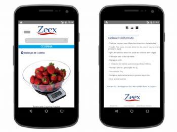 Exemplo de página de listagem de produtos da versão mobile e detalhes do produto.