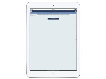 Tela inicial da área restrita, com funcionalidades objetivas - versão ipad.
