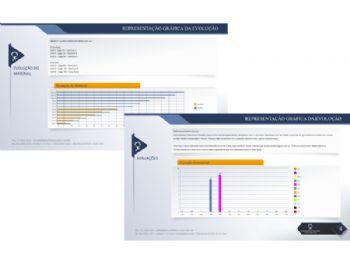 Exemplo de outros relatórios, como evolução do material didático e avaliação dos professores sobre cada aluno.