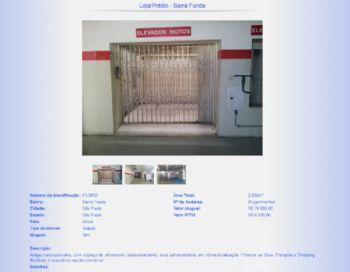 Exemplo de página de detalhes dos imóveis.