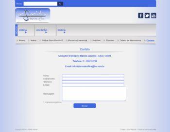 Página de contato com formulário de envio de e-mail.