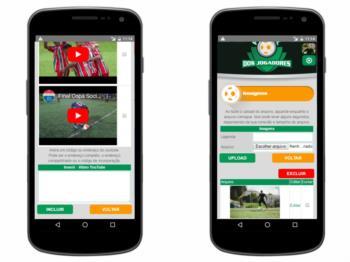 Versão mobile - página de gerenciamento de fotos e vídeos do YouTube.