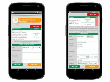 Versão mobile - página de gerenciamento de itens do market place e datas de peneiras.