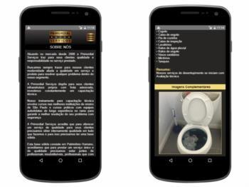 Exemplo de página institucional - versão mobile.