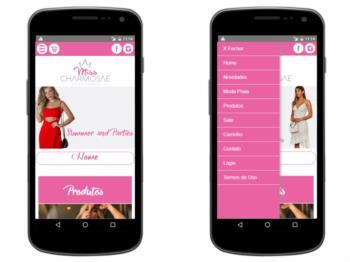 Exemplo da página inicial - versão mobile.