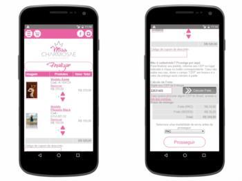 Exemplo da página de carrinho de seleção de produtos - versão mobile.