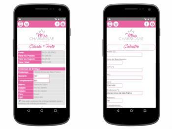 Exemplo da página de cálculo de frete e da página de cadastro - versão mobile.