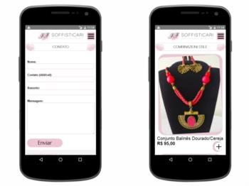Página de contato e página de listagem de produtos - versão mobile.