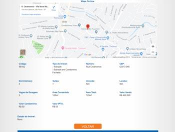 Continuação da página de detalhes com mapa de localização.