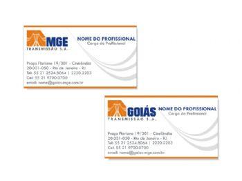 Cartão de visita. Frente, de uma empresa, e o verso da outra.