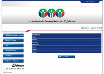Exemplo de página de navegação entre as áreas de convênios.