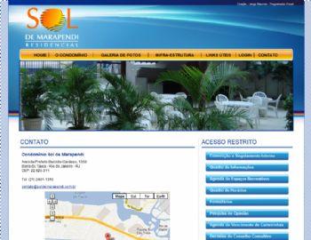 Página de contato com mapa de lacalização.